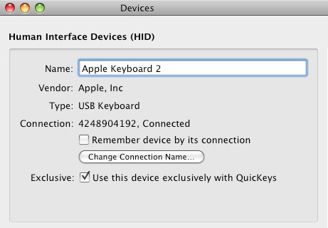 Quickeys devices setup