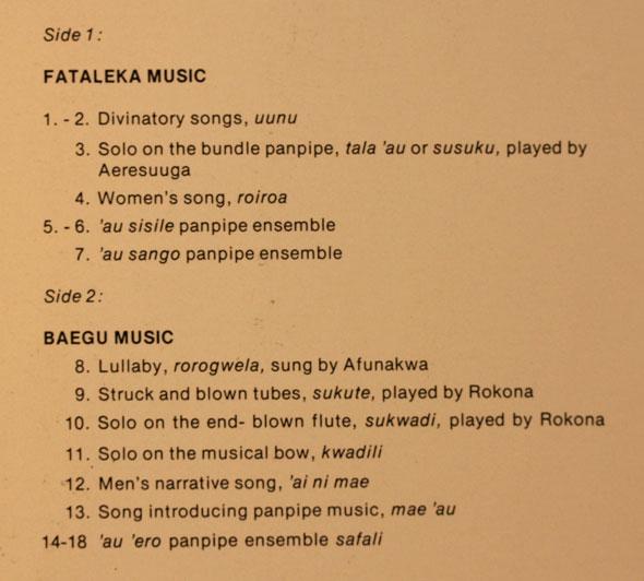 Solomons LP tracklist